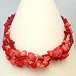 DKC ~ 3 Stranded Coral Flower Necklace
