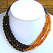 DKC ~ Black Onyx & Amber 3 Strand Necklace