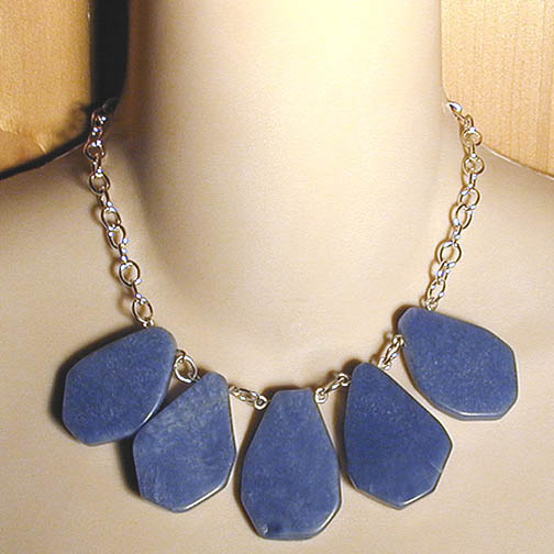 Blue Quartz Teardrops on Sterling Chain