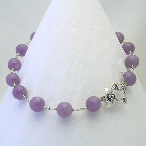 Faceted Purple Jade Necklace w/ a Sterling Silver Flower Clasp