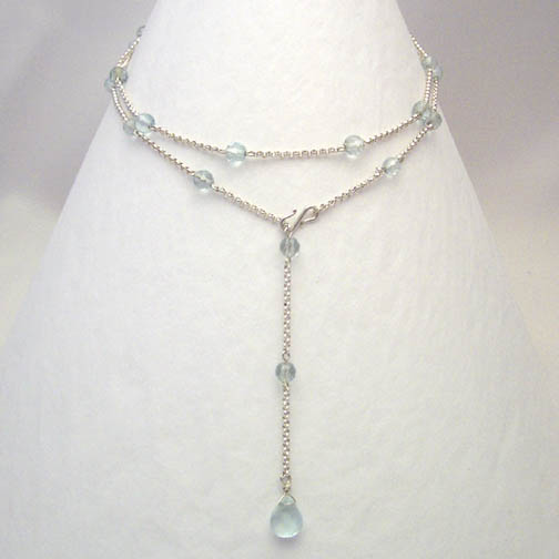 Aqua Quartz & Sterling Silver Chain Lariat Necklace
