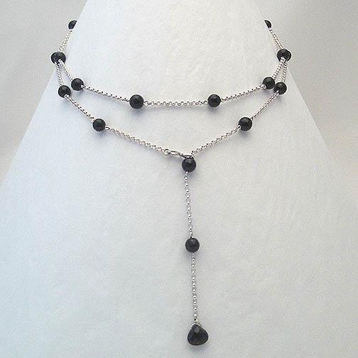 Black Onyx & Sterling Silver Chain Lariat Necklace