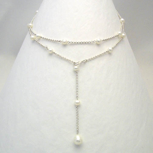 Pearl & Sterling Silver Chain Lariat