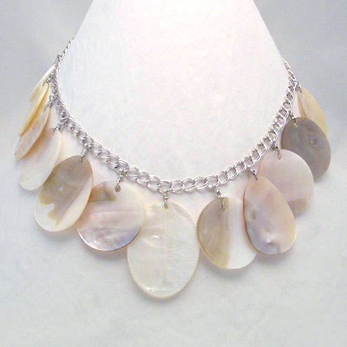 Mother Of Pearl Disks on Sterling Chain Necklace