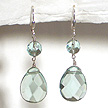 DKC ~ Faceted Aqua Quartz Teardrop Earrings