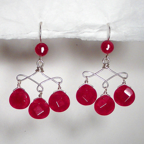 Faceted Ruby Jade Teardrop Earrings