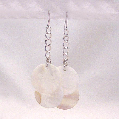 Mother Of Pearl Disks on Sterling Chain Earrings