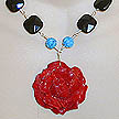 DKC ~ Dyed Bone Rose Necklace w/ Carved Turquoise & Black Onyx