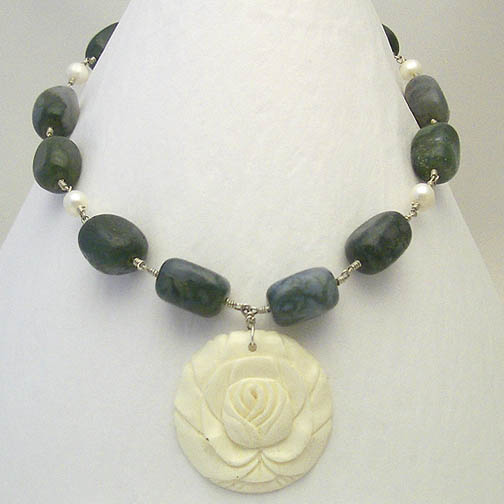 Ivory Bone Rose Necklace w/ Moss Agate & Pearl