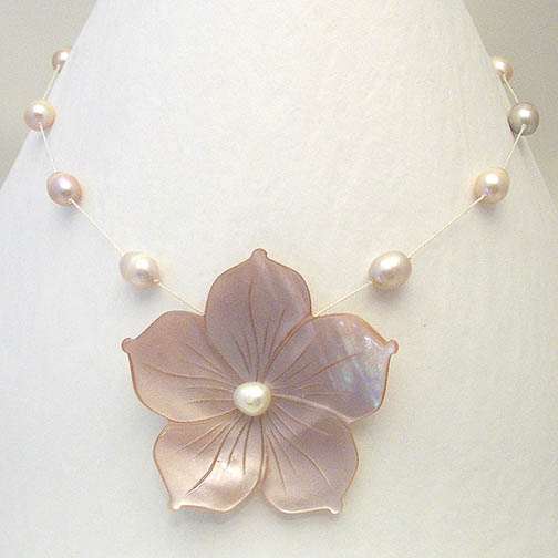 Pink MOP Flower Necklace w/ Multi Colored Pearls