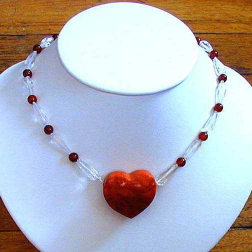 Coral Heart Necklace w/ Crystal Quartz & Carnelian