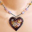 DKC ~ Painted Heart Necklace w/ Amazonite, Rose Quartz & Olive Jade