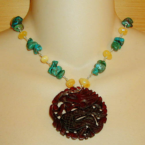 Jade Dragon Necklace w/ Amber & Turquoise
