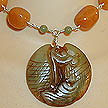 DKC ~ Jade Twin Fish Necklace w/ Red Aventurine & Fancy Jasper