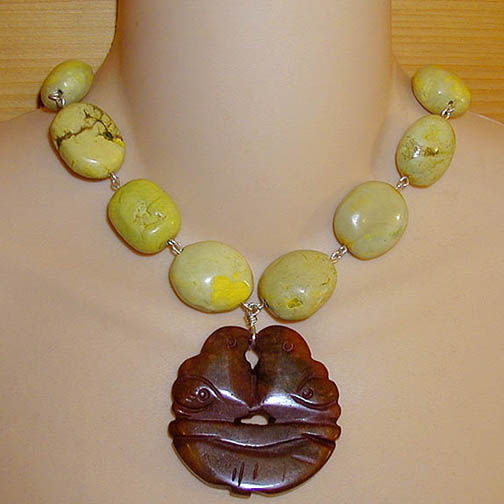 Jade Lovebird Necklace w/ Yellow Turquoise