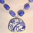 DKC ~ Pottery Shard Vine Necklace w/ Blue Quartz Nuggets