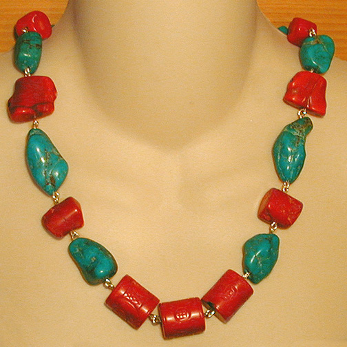 Carved Coral Chunk Necklace w/ Turquoise & Coral