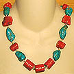 DKC ~ Carved Coral Chunk Necklace w/ Turquoise & Coral