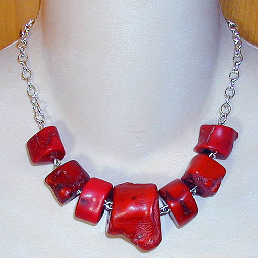 Coral Chunks on Sterling Chain
