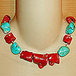 DKC ~ Coral Chunk Necklace w/ Turquoise & Coral Chunks