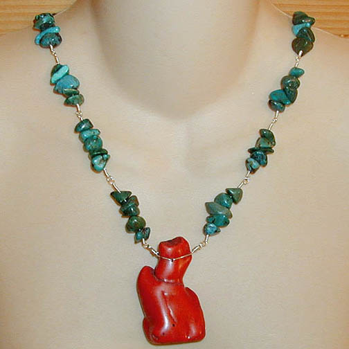 Coral Twig Necklace w/ Turquoise Chips