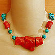 DKC ~ Coral Chunk Necklace w/ Carved Turquoise