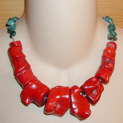 Coral Chunk Necklace & Turquoise Chips