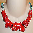 DKC ~ Coral Chunk Necklace & Turquoise Chips