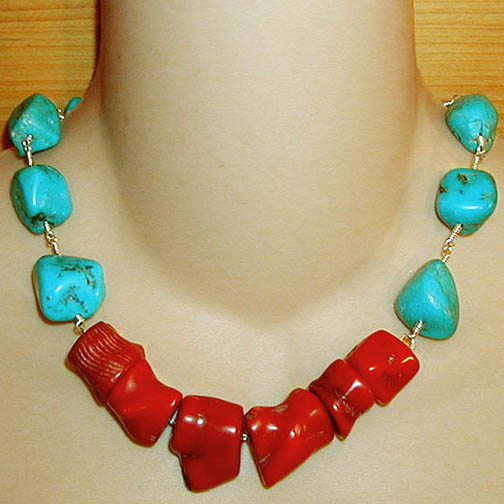 Coral Chunk Necklace w/ Turquoise Chunks
