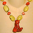 DKC ~ Coral Twig Necklace w/ Yellow Turquoise Nuggets