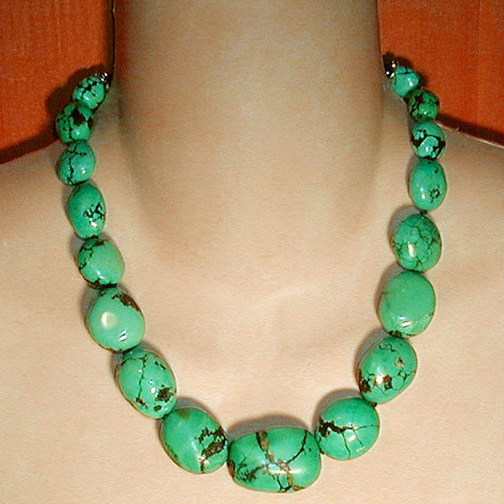 Graduated Turquoise Nugget & Bali Necklace