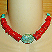 DKC ~ Turquoise Nugget Centerpiece Necklace w/ Coral Chunks