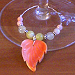 DKC ~ Coral Leaf Wine Charms w/ Olive Jade, New Jade, Coral & Bali Beads