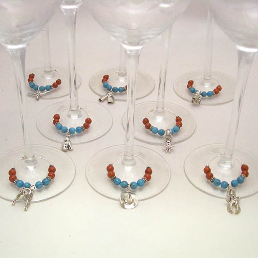 Southwestern Turquoise & Coral Wine Charms