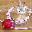 DKC ~ Ruby Jade Valentine Heart Wine Charms w/ Rose Quartz & Bali Beads